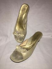 Taryn Rose Suede w/ Gold Shimmer Slide Sandals sz 38