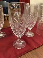 Godinger Dublin Shannon Crystal Footed Ice Tea / Water Goblets Stemware Set of 6