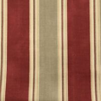 "Waverly Country Club Ticking Stripes Fabric Tan Barn Red Decor 1 Yard x 54"" New"