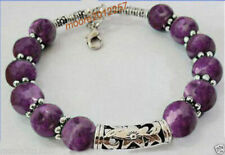 100% handmade Tibet silver purple Jade Bracelet 7.5 ~ 8 inches