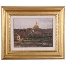 """Richard Fillhouer """"Paris Dome"""" Oil on Board Signed & Inscribed on Reverse"""