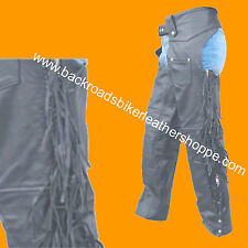 Ladies Womens Leather Motorcycle Biker Chaps with Fringe Black  Sizes 3XS to 5XL