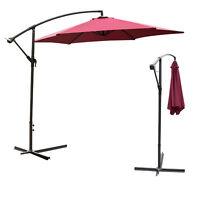 10Ft Outdoor Hanging Umbrella Patio Sun Shade Offset Crank Canopy W/ Cross Base