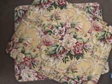 Vtg Croscill 80-90's Floral Cluster Yellow Pavilion Pillow Sham Set Shabby Chic