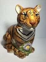 Sakura Stephanie Stouffer Tiger With Flowers Ceramic Cookie Jar Canister VGC