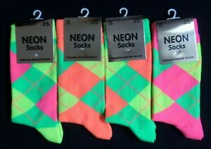 Ladies Girls fun novelty neon coloured Argyle print ankle socks size 4-6