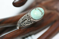 Sterling Silver Designer Large Cabochon 6 CT Turquoise Filigree Ring Sz 8.75 NWT