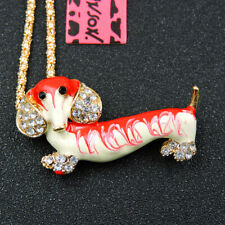 Dachshund Dog Pendant Necklace Gift Betsey Johnson Red Enamel Crystal Lovely