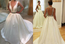 Satin Wedding Dress Bridal Gown with Sequins Crystals Open Back Custom Made