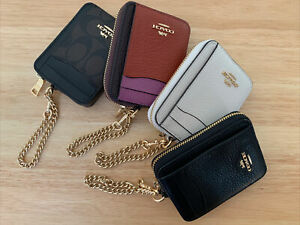 New Coach Zip&chain Card Case In Leather/Signature Canvas C0058 choose yours!!