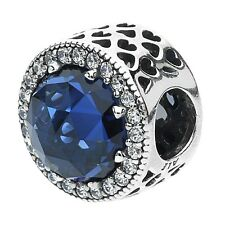 Authentic Pandora Silver Sterling Blue Radiant Hearts Moonlight Charm 791725NMB