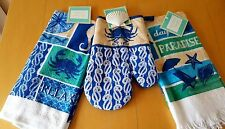 3 Blue Crab Kitchen Set Coastal Towels Oven Mitt Relax Beach Cottage