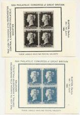 1968 50th Philatelic Congress Labels Penny Black, 2d Blue - Buxton Derbyshire