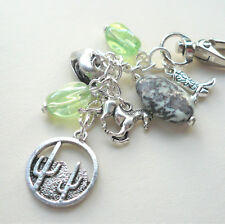 Cowboy Cowgirl Bag Charm Pale Green Grey Bead Horse Cactus Themed  KCJ2326