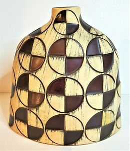Brown Geometric Designed Ceramic Floral Vase For Home Decor