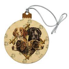 Dog Diamond Hunting Breeds Wood Christmas Tree Holiday Ornament