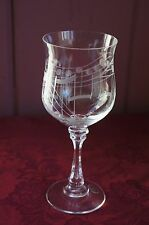 "LOVELY LEAD CRYSTAL WINE GLASS WITH ""MUSIC"" ETCHING"