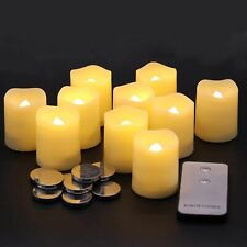 Set of 10 Flameless Votive LED Candles with Remote, Flickering Battery Operated