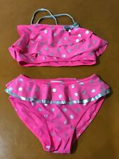 Girls Kids Flapdoodles Pink Two Piece Polka Dot Bathing Swim Suit Size 10