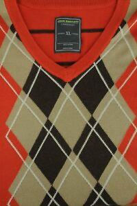 John Bartlett Men's Orange & Brown Argyle Cotton Sweater Vest XL XLarge