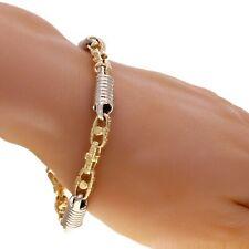 "14k Yellow & White Gold Handmade Greek Style Fashion Link Bracelet 7"" 7mm 28g"