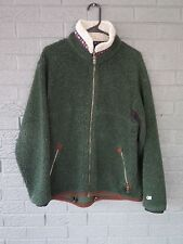 KUHL ALF RIRI DEEP PILE GREEN FLEECE JACKET WITH LEATHER TRIM RETRO CARDIGAN M