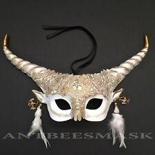 Women Halloween Brocade Lace Fantasy Horn Ball Mask Horn Earring Party Wear Deco