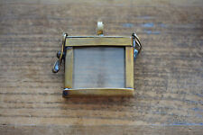Antique Bronze Glass Frame Pendant SQUARE Shape Memory Box Double Sided