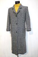 Vintage 70s CASSIDY USA Overcoat Womens Wool Tweed Grey Jacket Coat US 12 UK 12