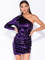 Womens Purple Sparkly Sequin Long Sleeve Short Party Dress UK Sizes 6 8 10 12 14
