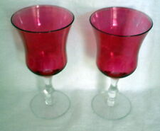 PAIR (2) CRANBERRY FLASHED Bi-color Tall Water - Wine Goblets 6 7/8""