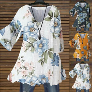 Plus Size Womens V-Neck Floral Print Tunic Tops Shirt Ladies Casual Loose Blouse