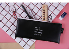 Black Pencil Case Bag For Teenagers Girls Women Pu Leather Stationery Pouch