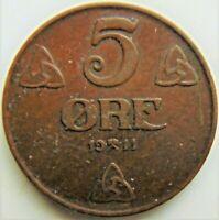 1911 NORWAY, bronze 5 Ore grading Good VERY FINE.