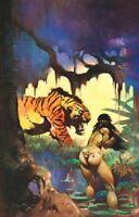 Vintage Frank Frazetta Art ESCAPE ON VENUS 1972 Full Color Plate GGA Tiger Knife