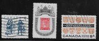 Canada Scott #398-400, Singles 1962 Complete Set FVF Used/MH