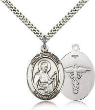 St Camillus Nurse Symbol Sterling Silver Patron Saint Medal Necklace by Bliss