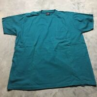 90s VTG TURQUOISE Teal BOXY Blank POCKET T Shirt Normcore Grunge XL Plain Skate
