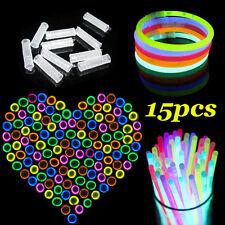 15pc 8'' Premium Glow Sticks Light Bracelets Necklaces Neon Party Favor Supplies