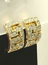 Gorgeous Party Clip on Earrings in Gold Colour with Rhinestones