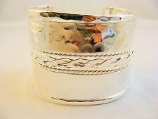 Silver Copper Alloy Cuff Bracelet 1 7/8 In. Wide Bullock & Dorchester 61/4 In