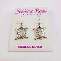 Silver Turtle Earrings Drop Dangle Fish Hook Wires .925 Sterling Silver