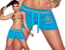 Koucla Shorts Hotpants Sport Hose Jogging Fitnesshose kurz Strass Panty Türkis M