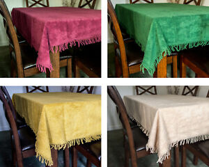Chenille Tablecloth Traditional Tufted Cotton Luxury Fringing 5 Colours 4 Sizes