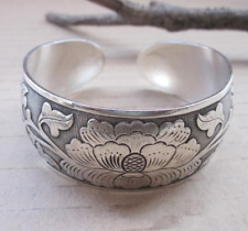 Tibetan Silver Plated Elephant Tibet Totem Bangle Jewelry Cuff Wide Bracelet