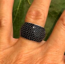 Certified 2.51ct African Black Spinel Sterling Silver Wide Cigar Band Ring Sz. 8