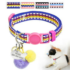 Personalized Breakaway Cat Collars Dog Tags for Puppy Kitten Quick Release Pink