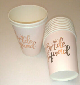 10 Bride Squad PAPER CUPS Hen Party Shower PALE PINK BEAKERS ROSE GOLD METL TEXT