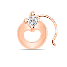 Sterling Silver Women'S Nose Pin Beautiful Solitaire 14K Rose Gold Finish 925