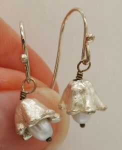 PEARL SILVER Earrings Hook MICHAEL MICHAUD  Lily of the Valley 925 Sterling